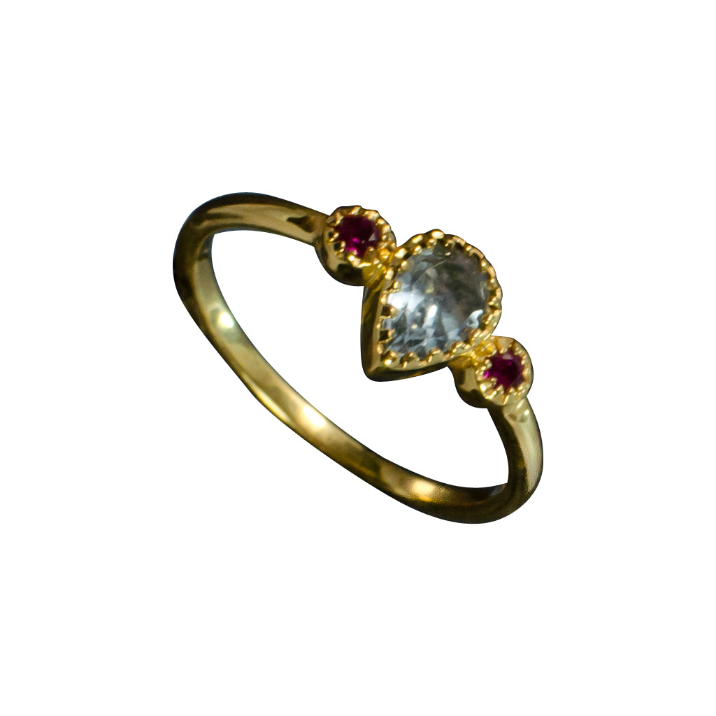 vermeil faceted blue topaz and red cz ring cubic zirconia delicate cute