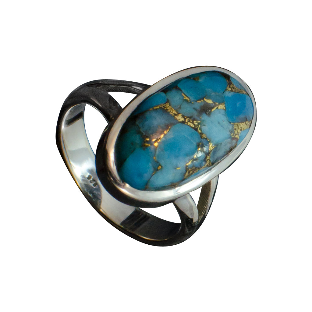 Oval Stone Ring Trendy Silver