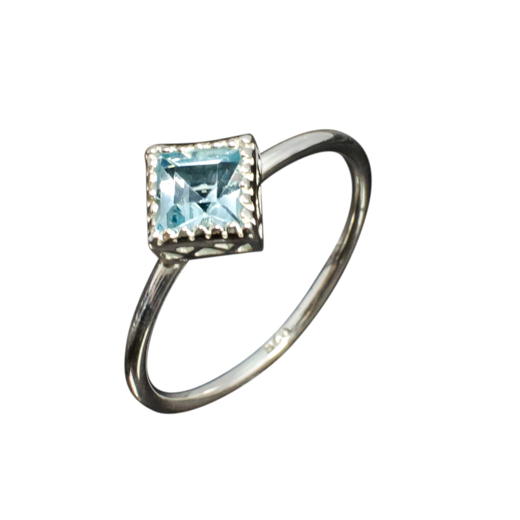 Blue Topaz Ring Silver Stone Lovely Affordable Stackable
