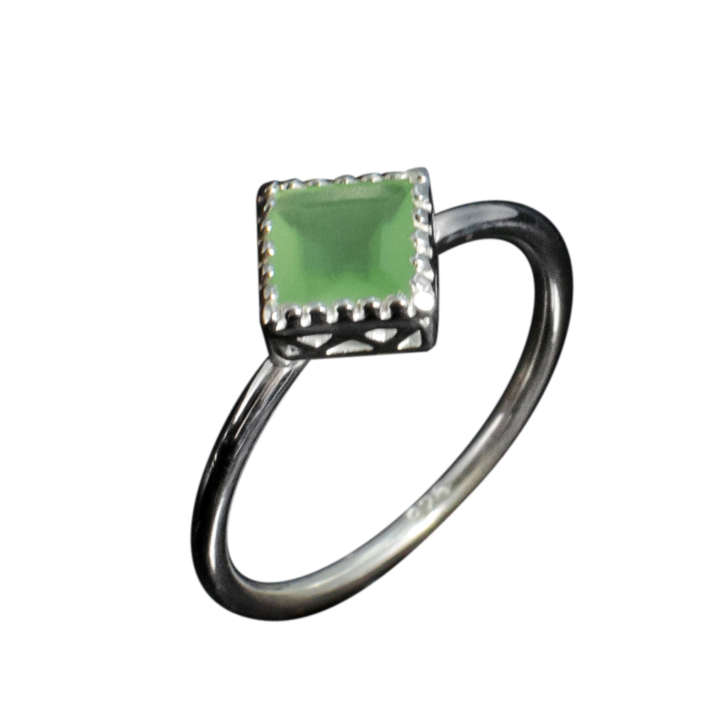Green Chalcedony Ring Silver Pretty