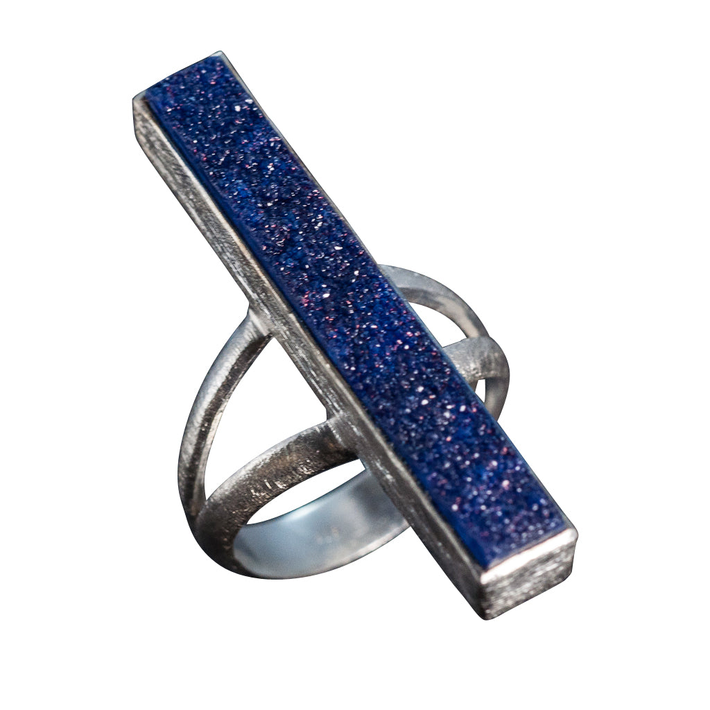 Straits of Gibraltar long rectangle blue druzy ring large skinny