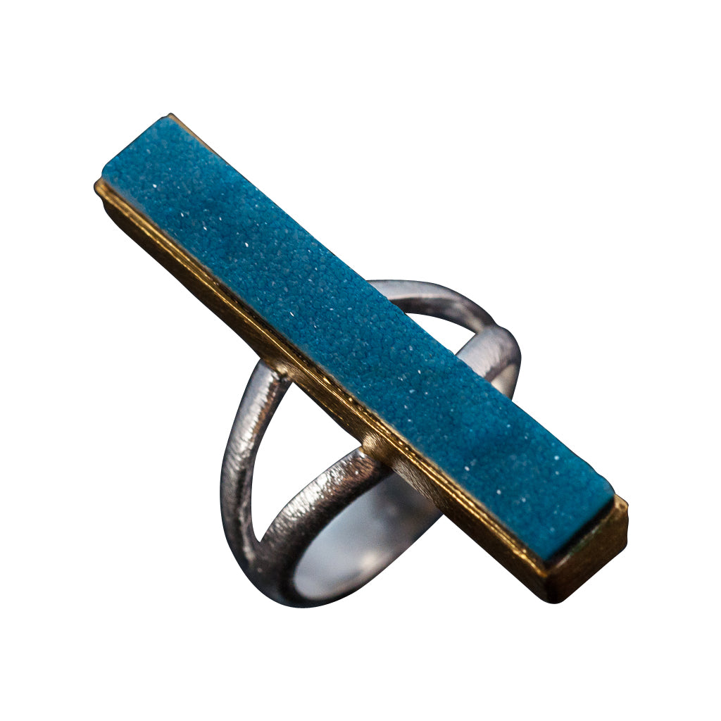 Straits of Gibraltar long silver and vermeil rectangle aqua druzy ring long skinny large trendy