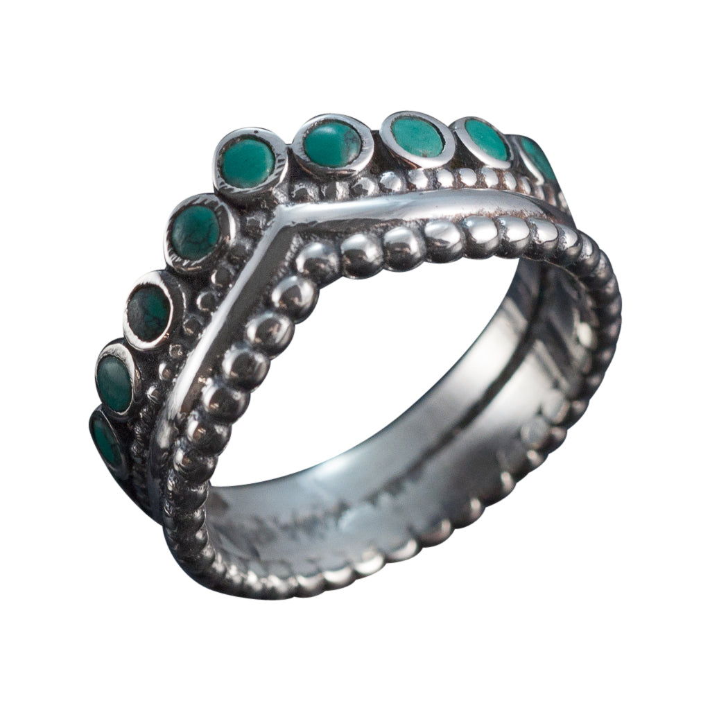 Coronet turquoise crown ring silver dot delicate boho style trendy ring stackable