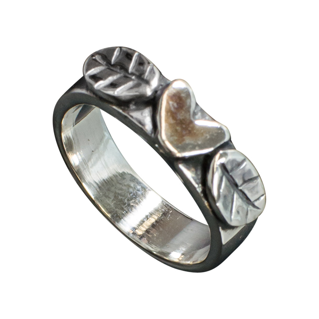 Boho Stylish Silver Ring Heart Leaves Affordable Trendy