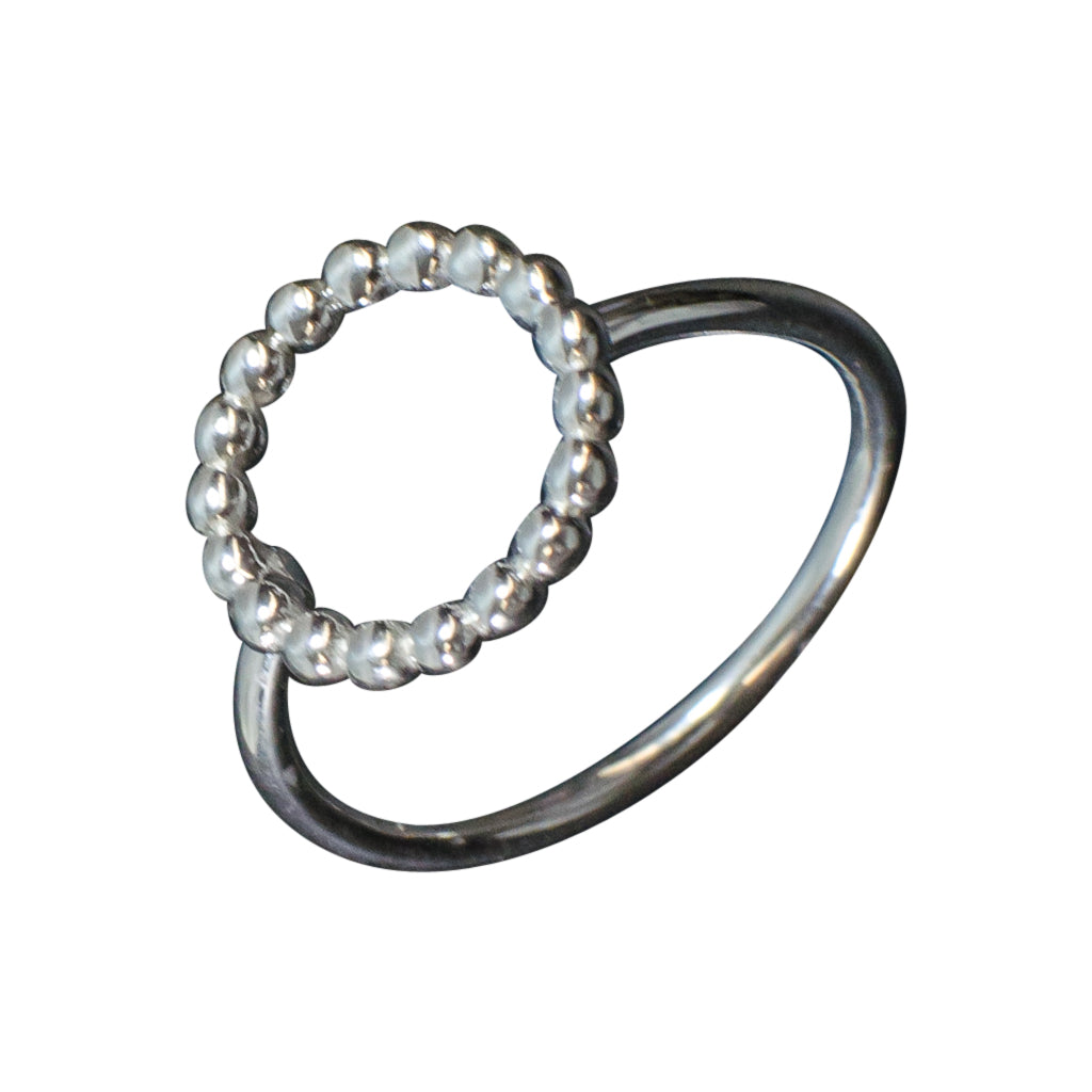 Simple Circle silver dotted ring cute delicate stackable