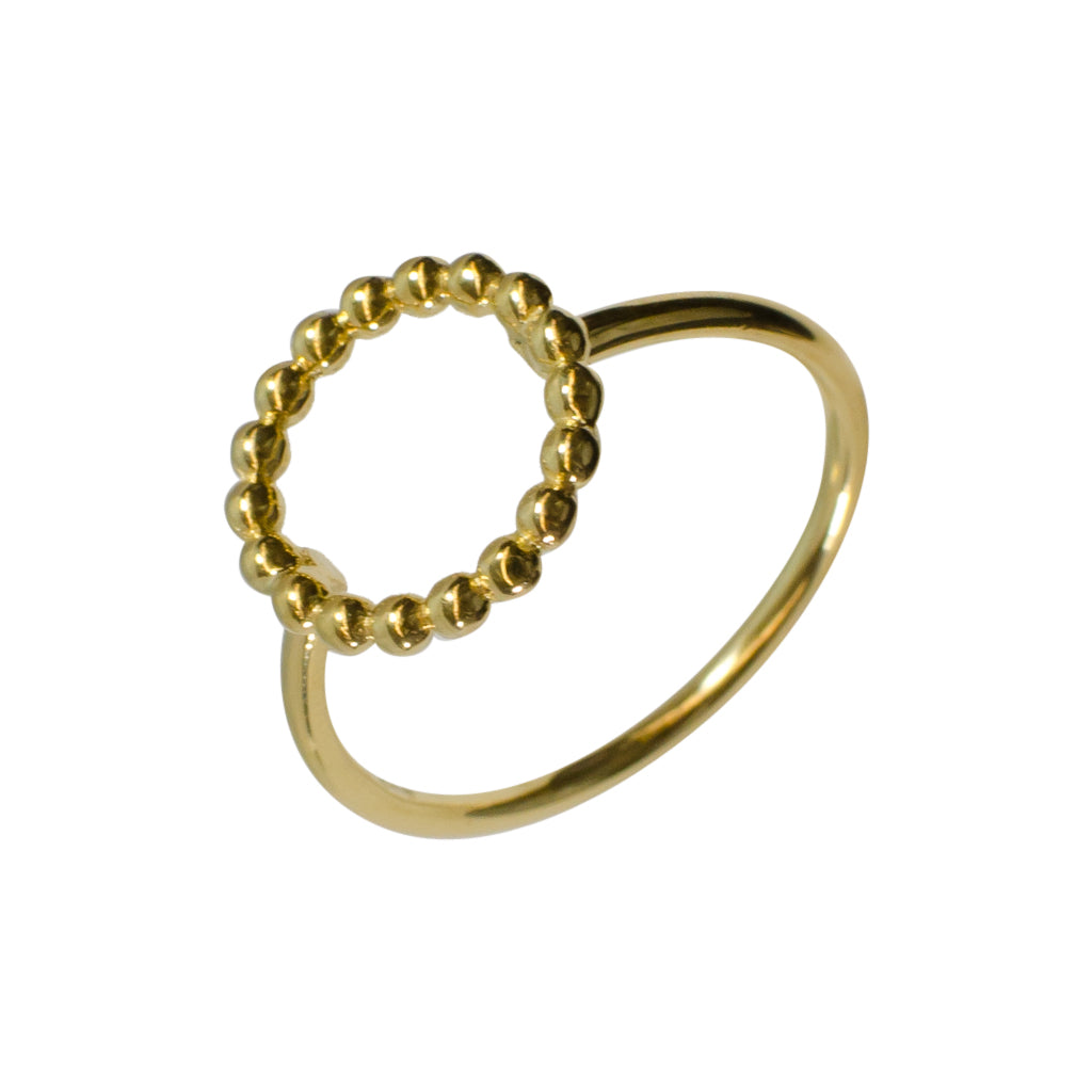 Simple Circle silver dotted ring gold vermeil delicate dainty stackable
