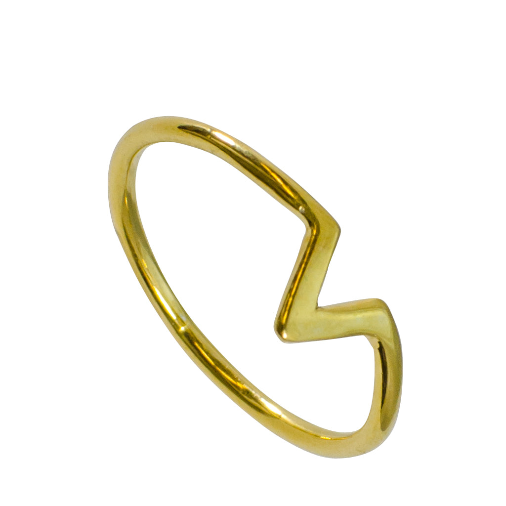 Gold Vermeil Stackable Trendy Victory Ring Triangle