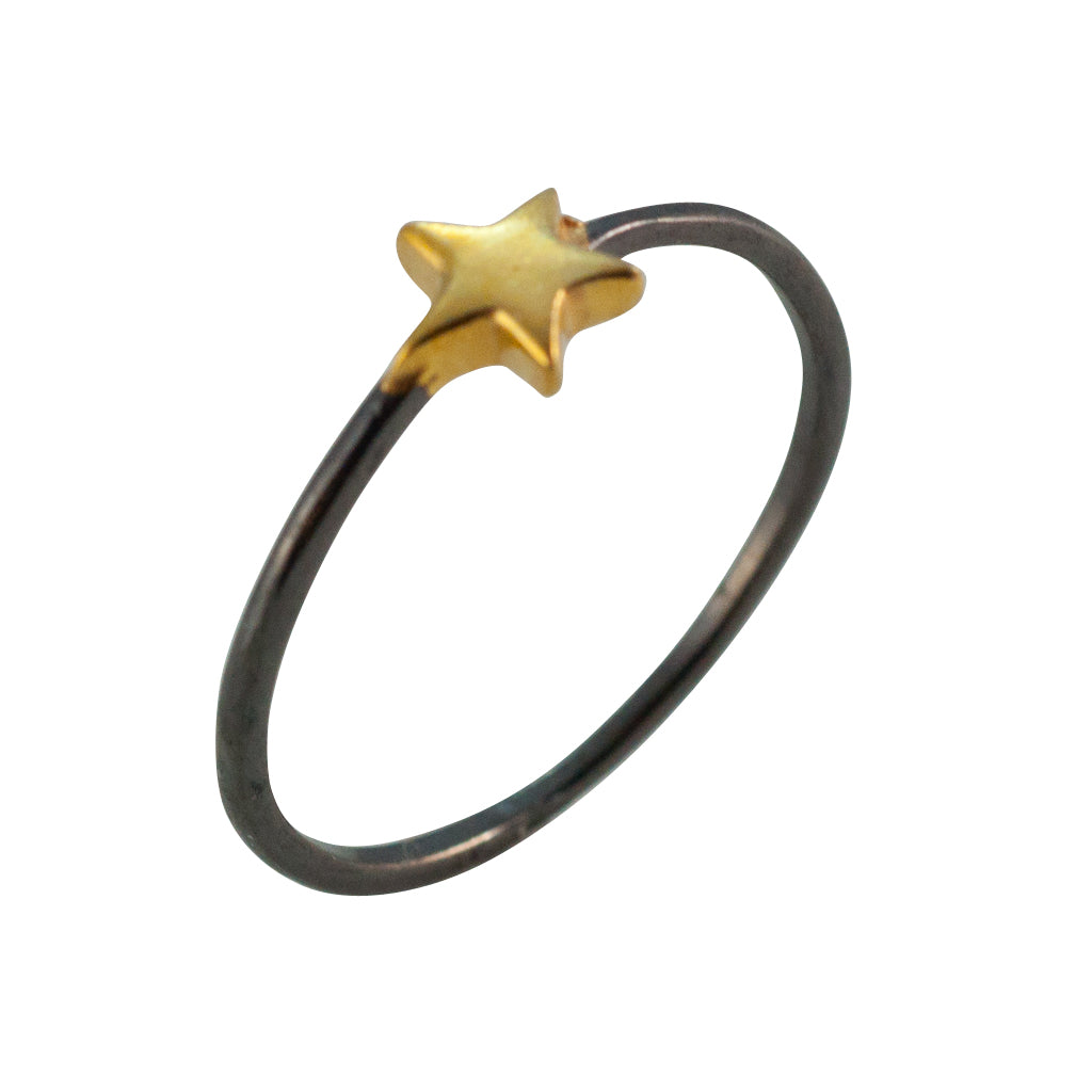 Star Dark Ring Gold Vermeil Delicate Stackable Affordable Trendy