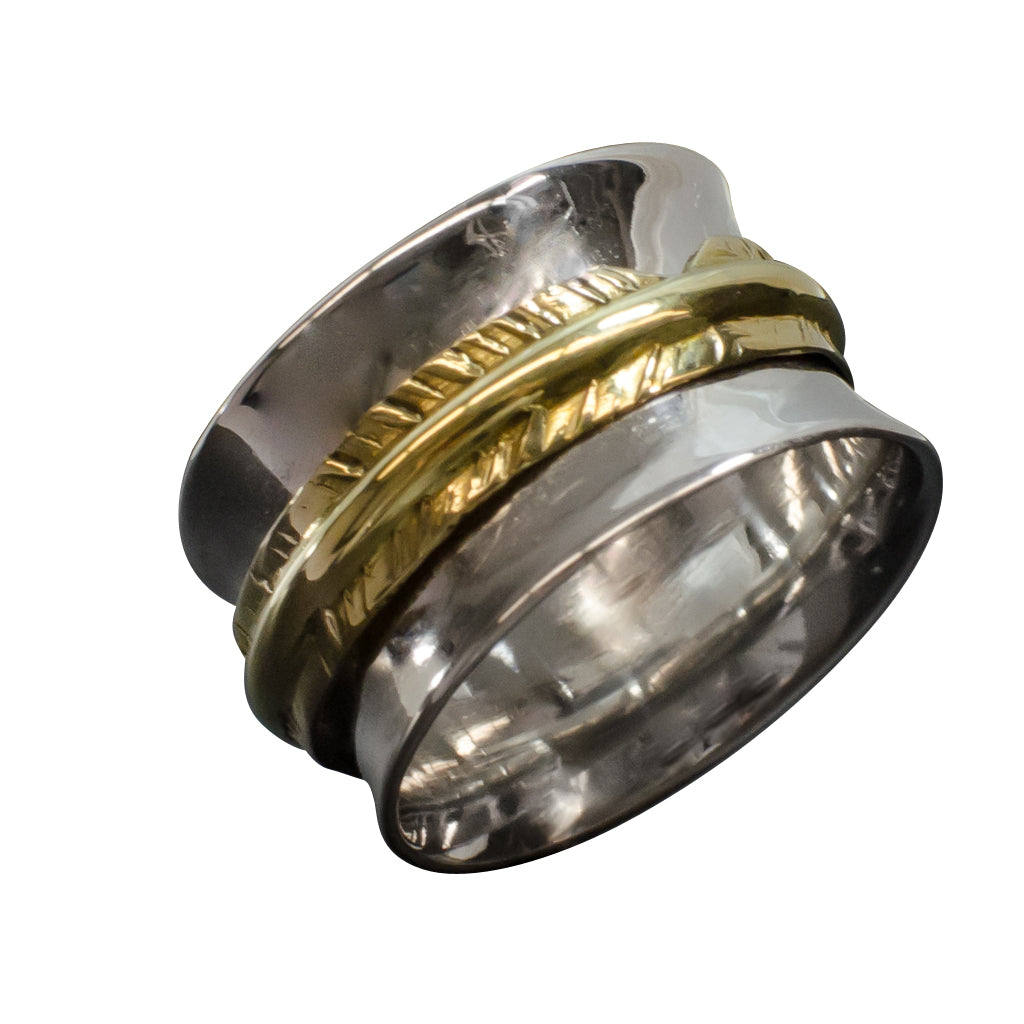 Silver Brass Spinner Ring Gorgeous Bold Brass Detailed Trendy Boho