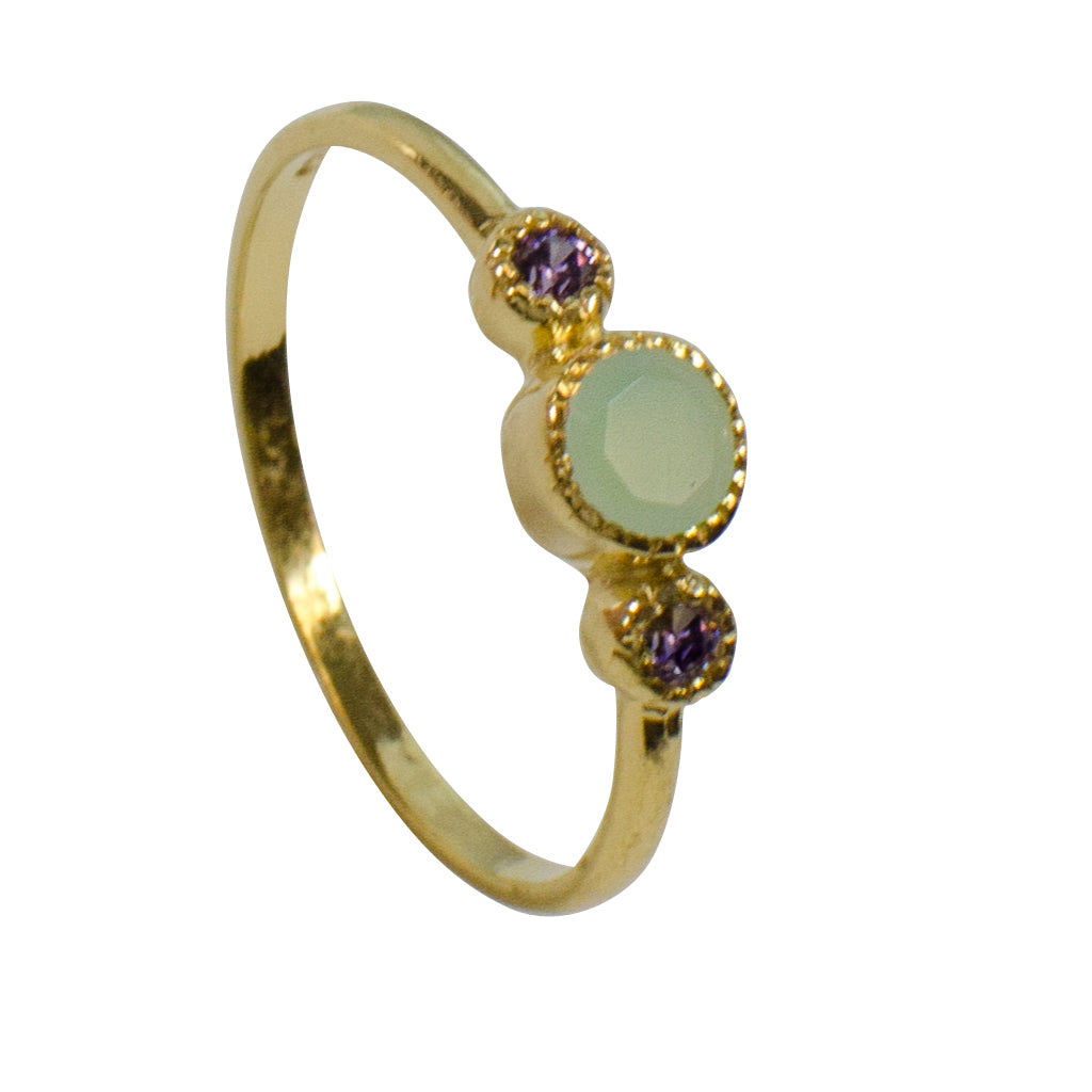 Chalcedony Green Purple Gold Vermeil Ring Sweet Delicate Intricate