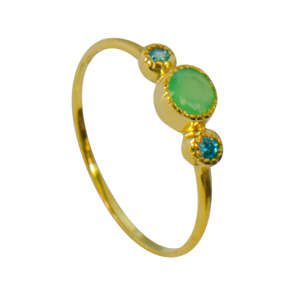 Vermeil Gold Light Green Onyx Affordable Trendy Stackable
