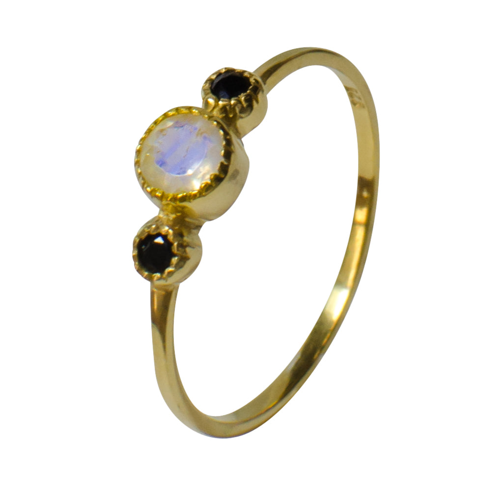 Rainbow Moonstone Vermeil Gold Teensy Ring Small Cute