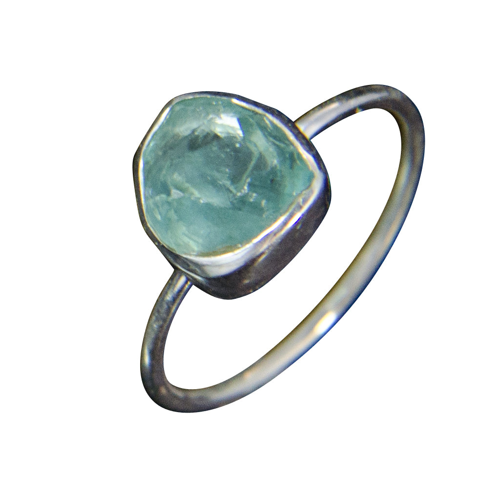 Apatite Blue Green Silver Cute Stackable Affordable Ring