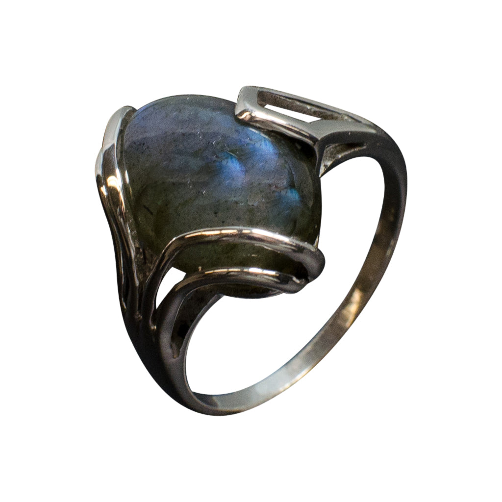 Silver Labradorite Stone Ring Affordable Trendy