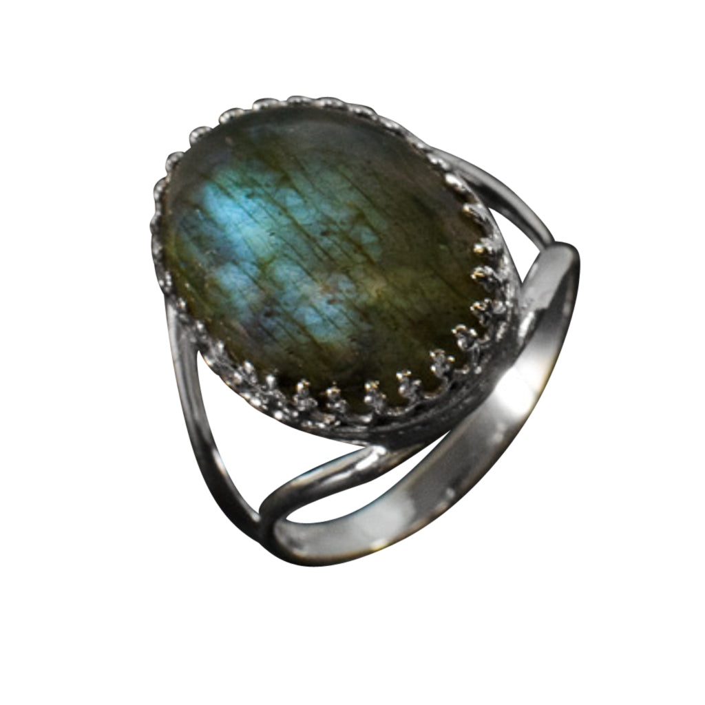 Silver Stone Ring Labradorite Trendy Affordable