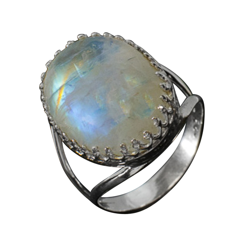 Rainbow Moonstone Silver Ring Trendy Boho Large Oval