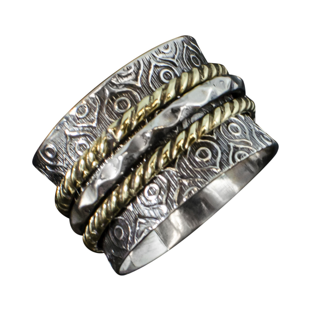 Silver Brass Silver Spinner Ring Feather Trendy Boho Stylish
