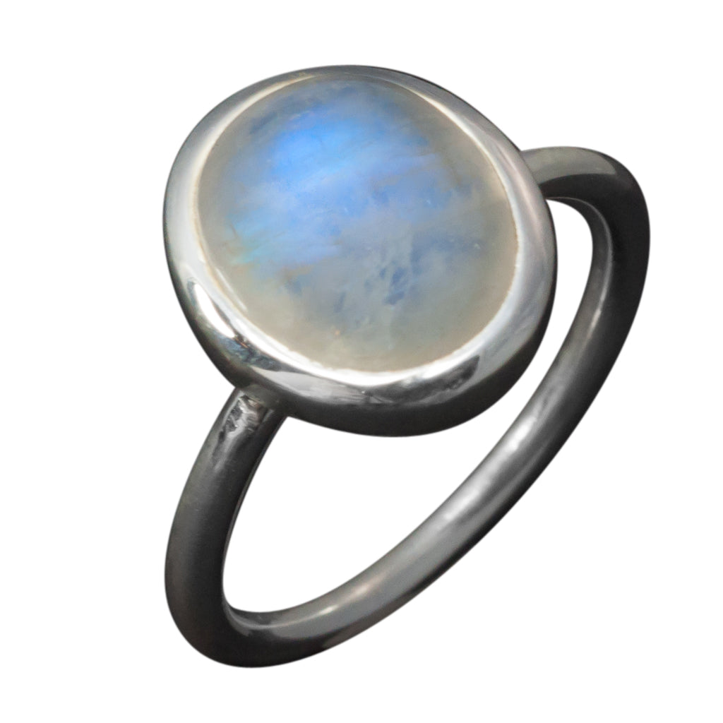 Oval Rainbow moonstone ring Cute elegant boho style waters affordable