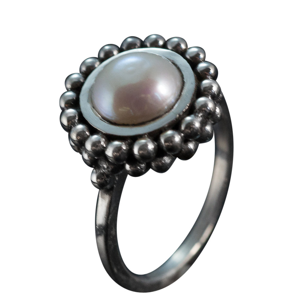 Macaroon oxidized round pearl with double layer of dots ring cute trendy