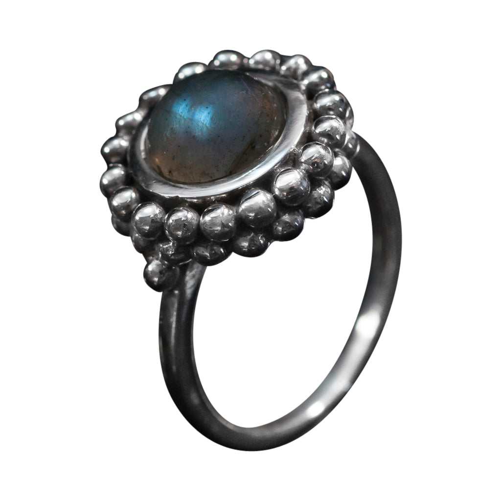 Macaroon oxidized round labradorite with double layer of dots ring cute trendy
