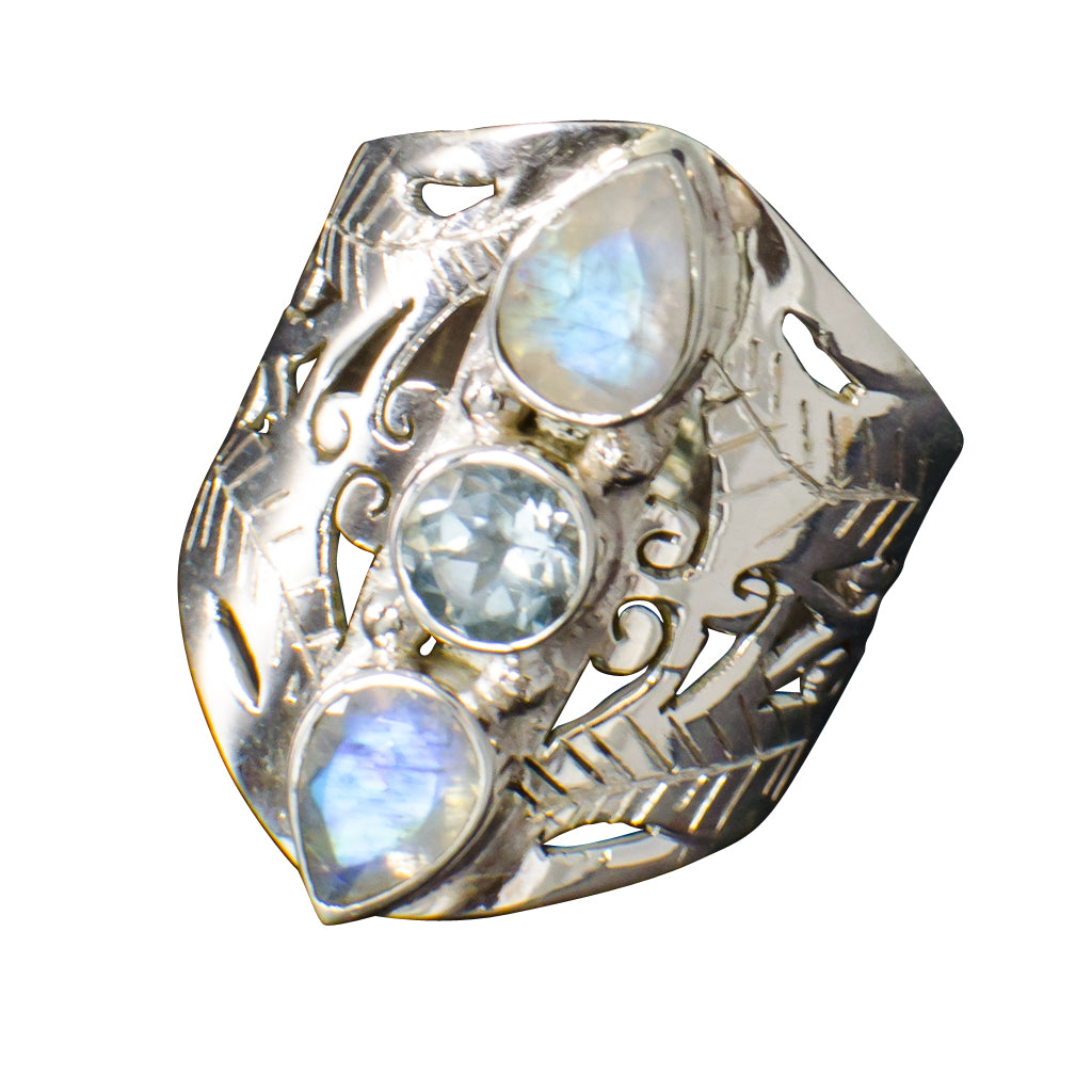 Jaali 3-stone ring with rainbow moonstone and blue topaz boho style trendy cute semi--precious stone jewelry