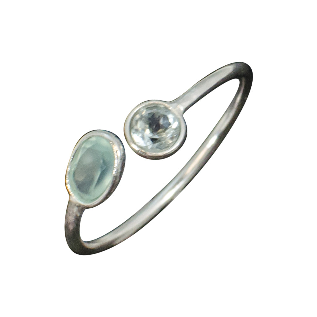 Silver Chalcedony Stone Ring Blue Topaz Green Stackable Cute Trendy