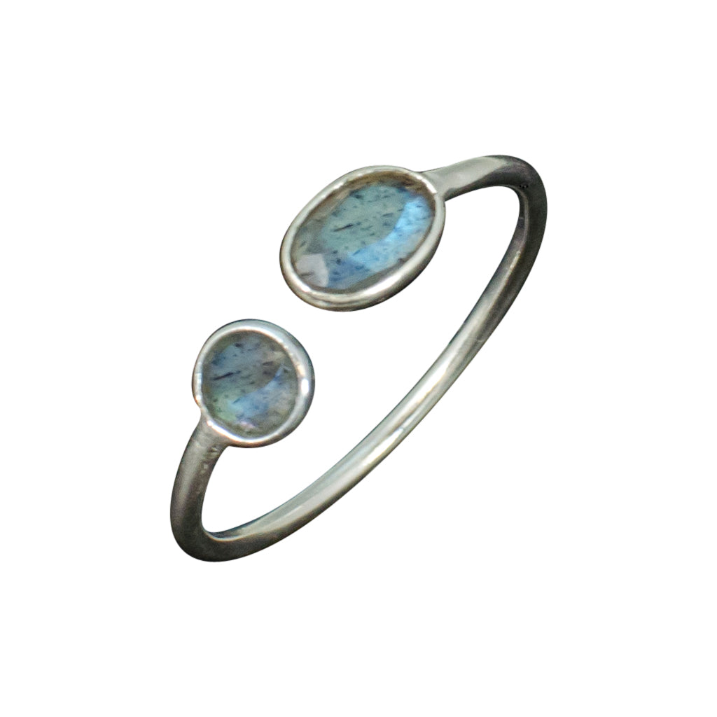 Labradorite Ring Silver Blue Cute Stackable Affordable Trendy