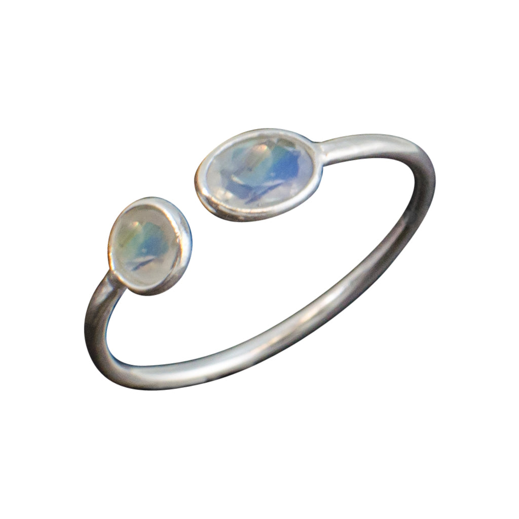 Stackable Dewdrops Ring Rainbow Moonstone Silver Stone stackable Affordable Boho