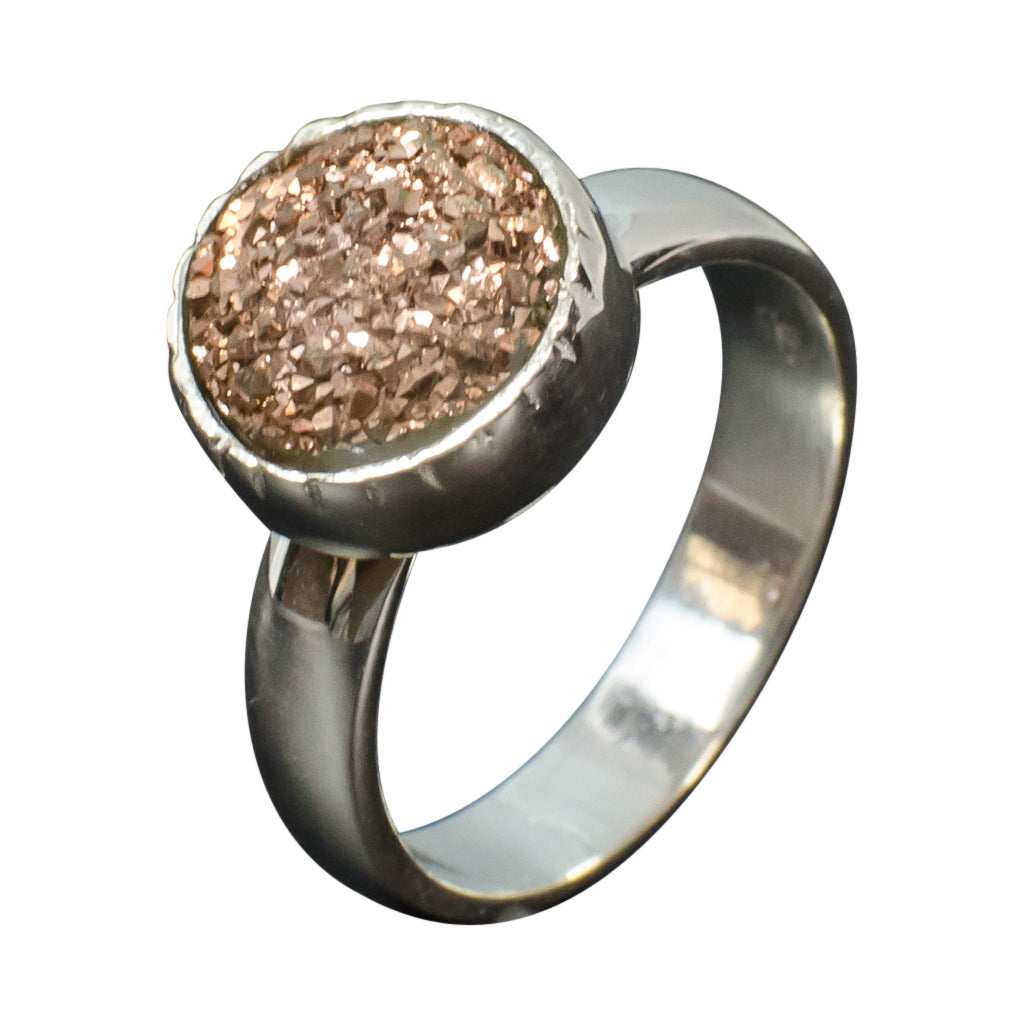 Peacock iridescent copper druzy ring rose gold silver stone