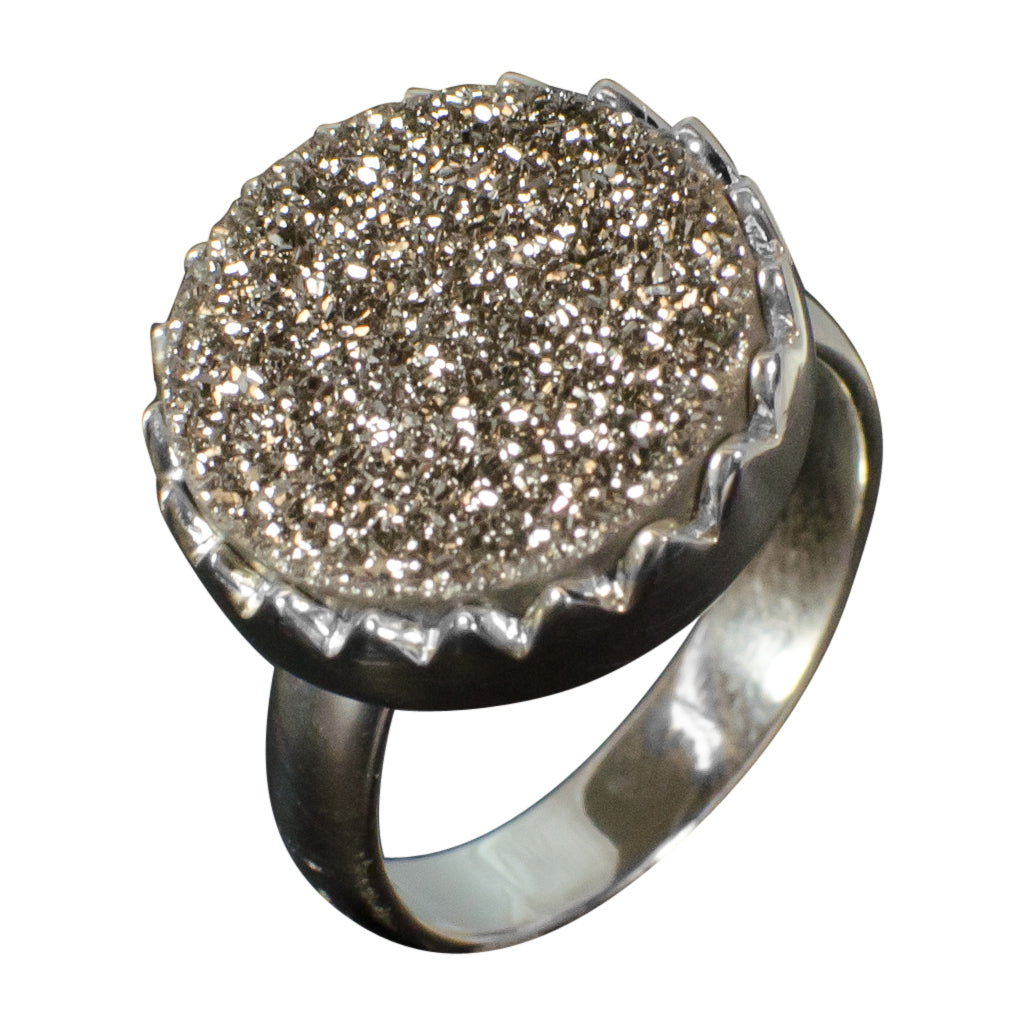 Sparkle Silver Druzy Stone Ring Trendy Shine Large Circle