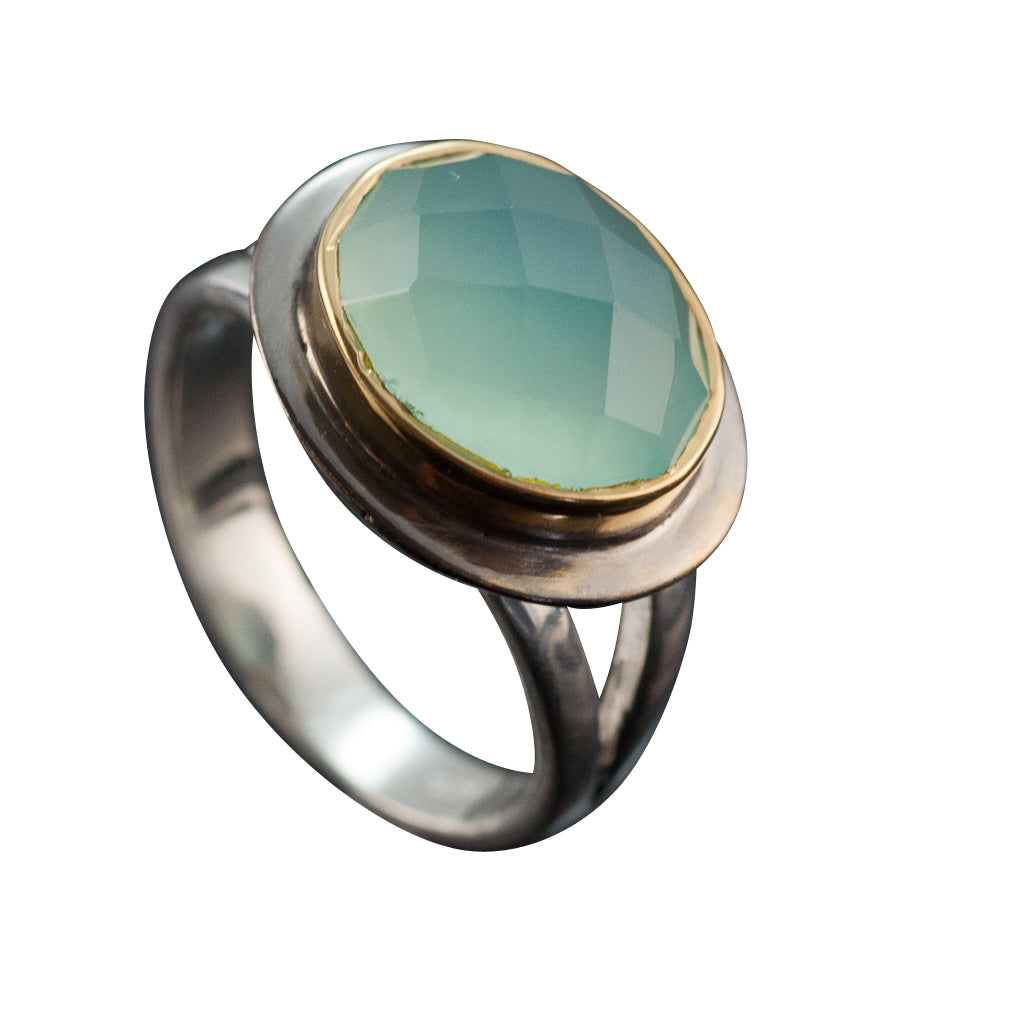 Our angelic Halo Ring features an oval faceted chalcedony stone with vermeil and oxidized bezel cute trendy classy