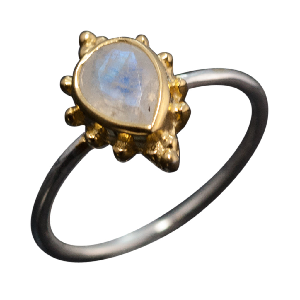 Rainbow Moonstone Ring Stone Cher Affordable Cute Trendy Stackable Trendy Boho Style Stunning