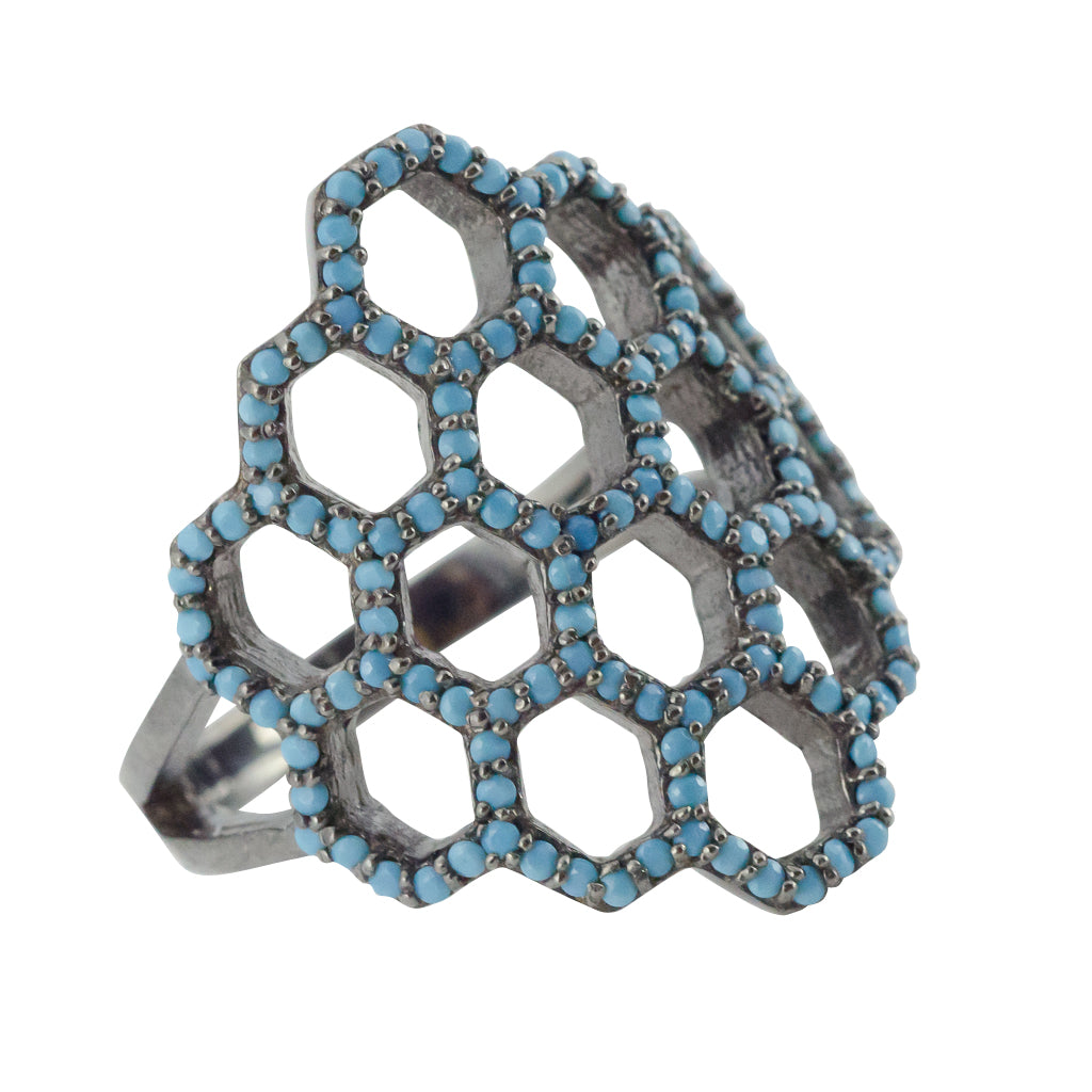 Turquoise dark rhodium honeycomb pattern ring intricate unique boho