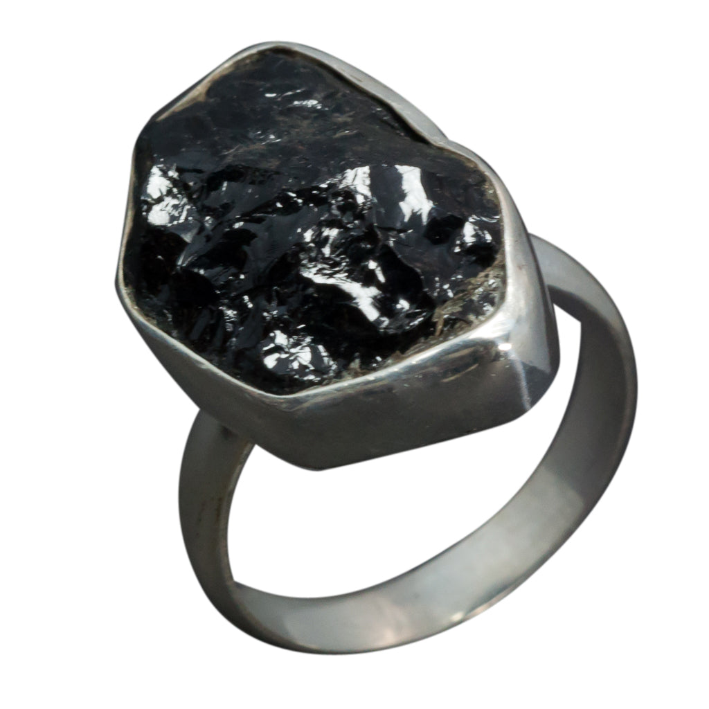 boho style rock ring black tourmaline