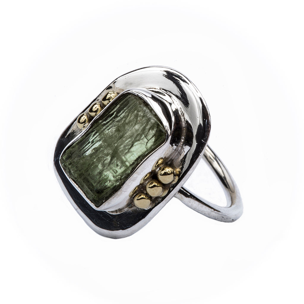 Green Kyanite silver brass ring affordable cute