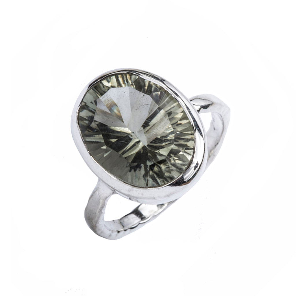 Silver green amethyst ring affordable stunning faceted