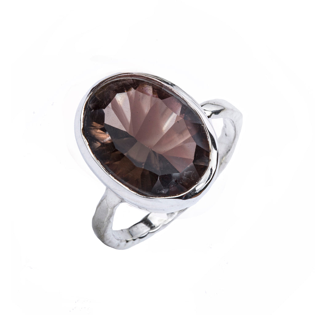 Silver smoky quartz affordable concave cut faceted stone ring