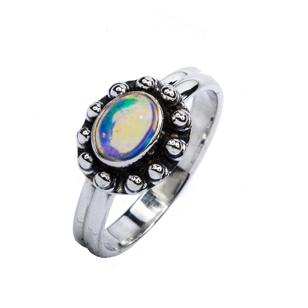Silver Opal ring intricate affordable classic