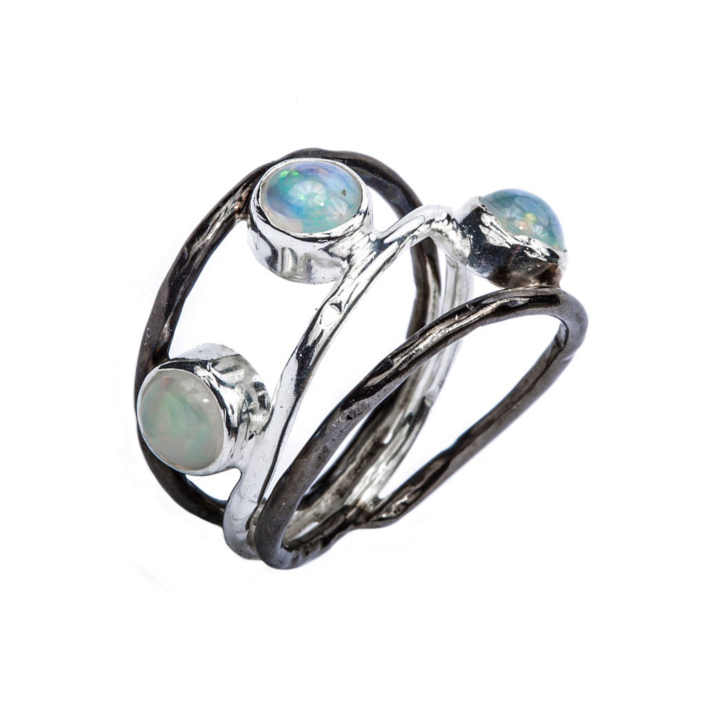 Silver opal stone precious affordable ring classic three-stone