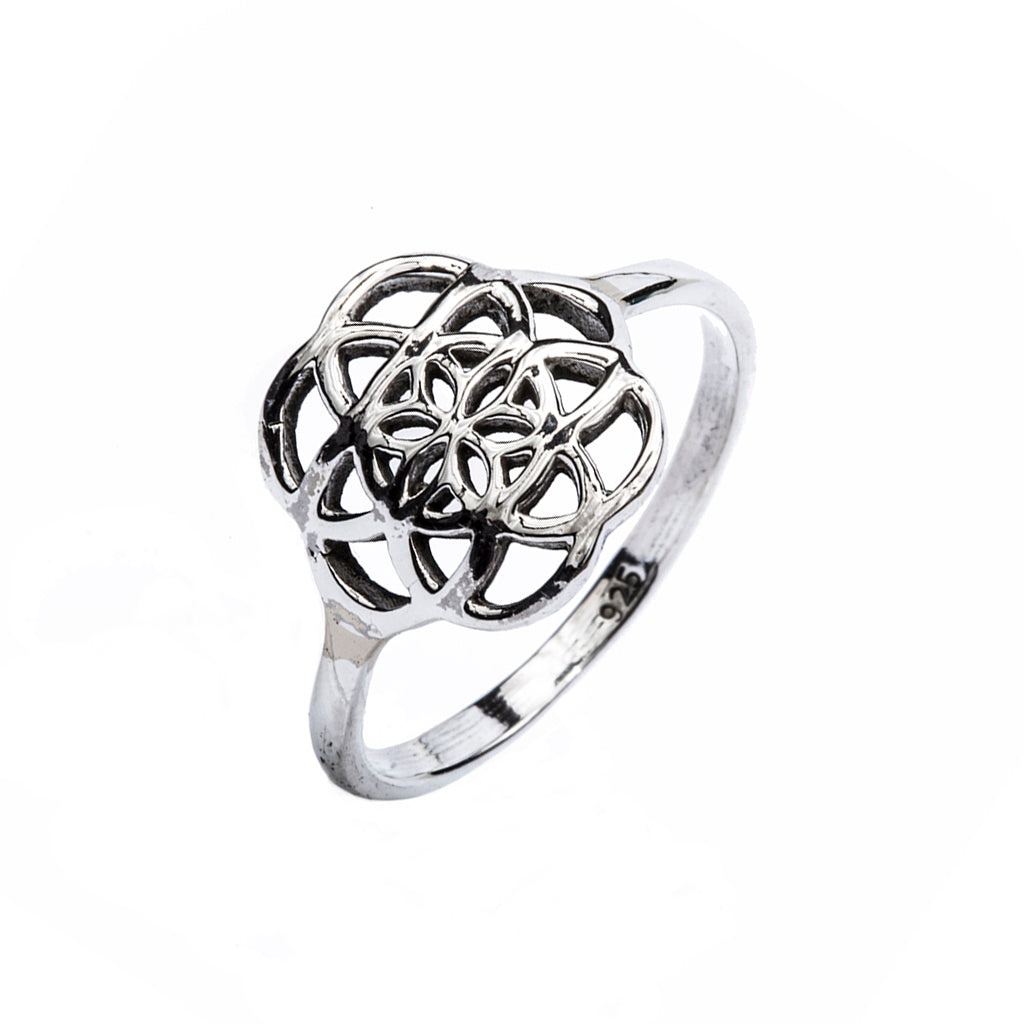 Flower of Life ring silver simple affordable