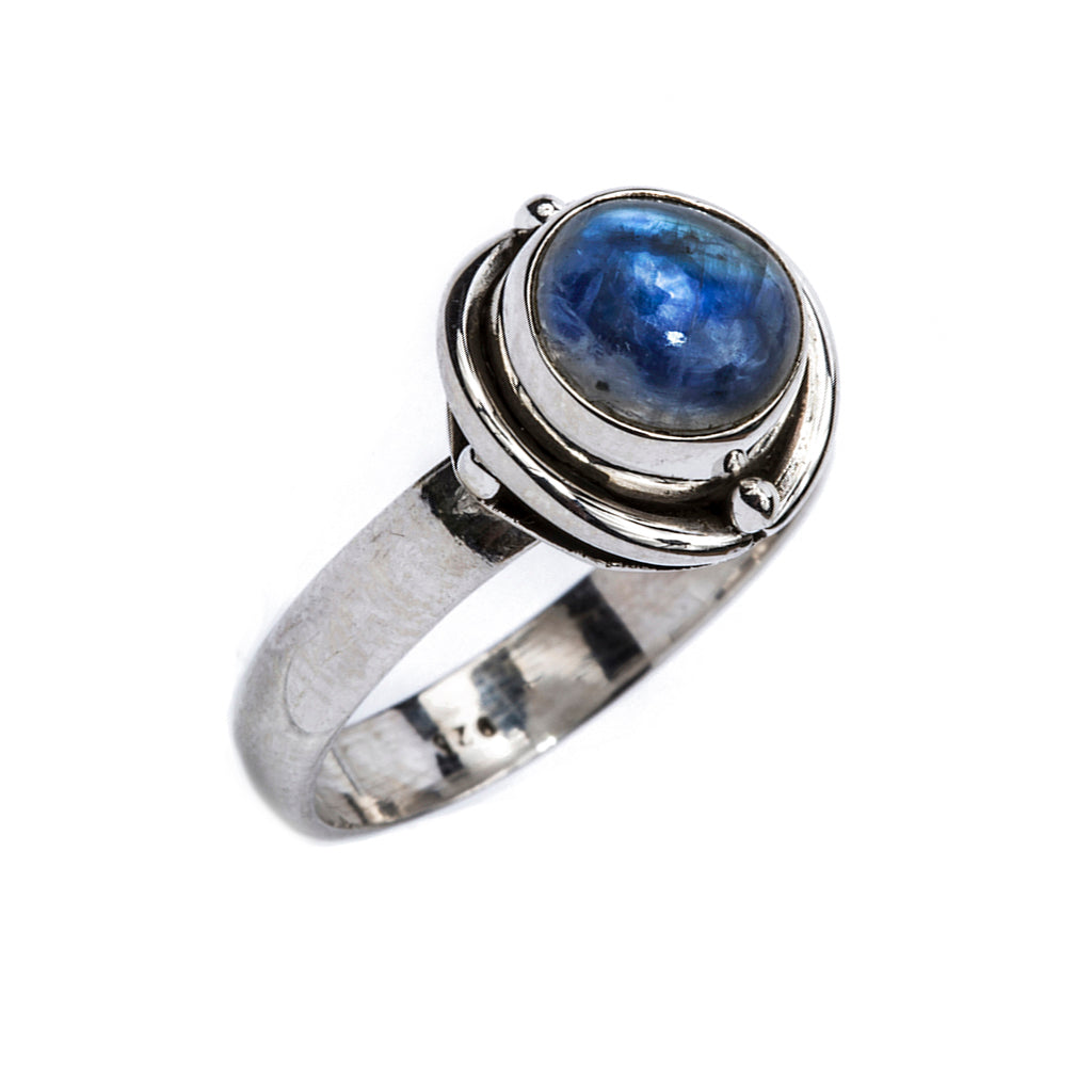 Cosseted silver rainbow moonstone ring affordable