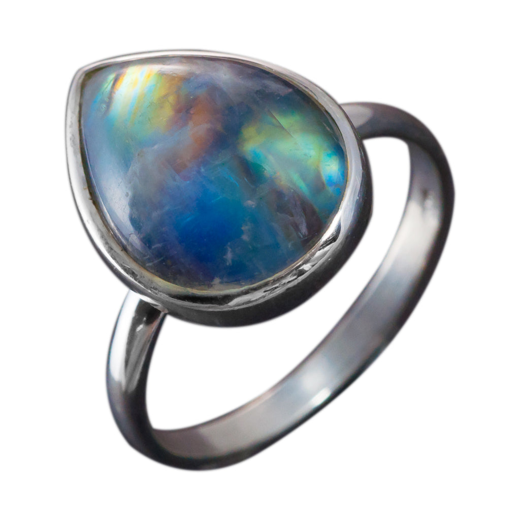 Electric rainbow moonstone stone ring silver affordable