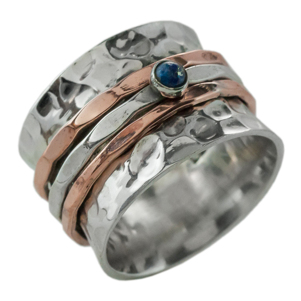 Lapis copper silver stone spinner ring