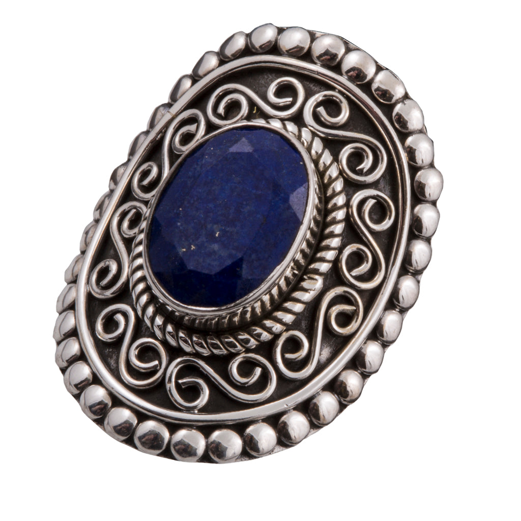 Lapis silver ring affordable bold beautiful ring