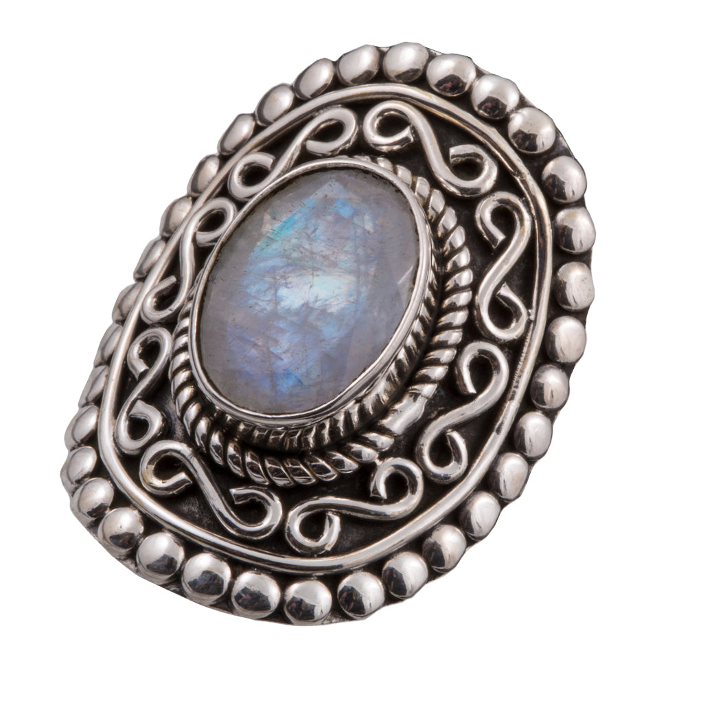 Rainbow moonstone silver designed affordable intricate designed ring