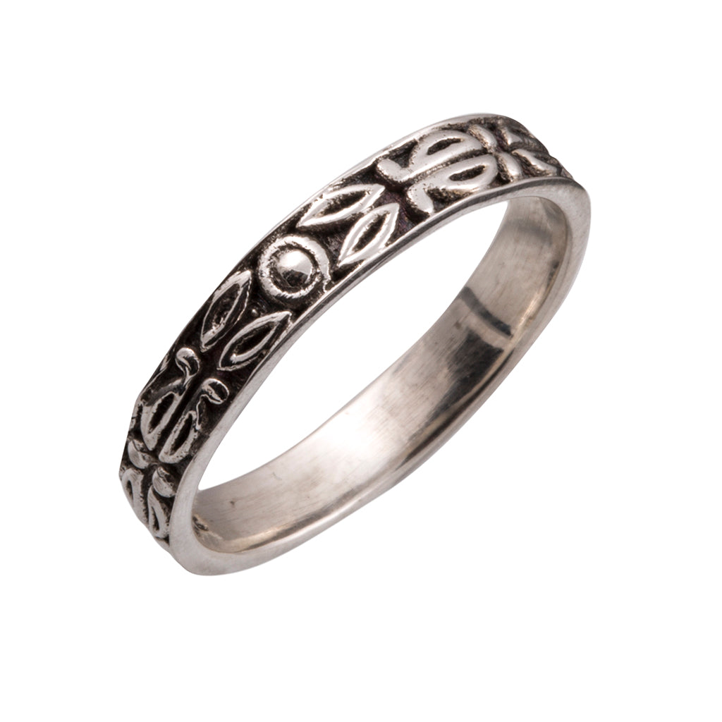 Silver ring intricate delicate band design affordable thin boho handmade
