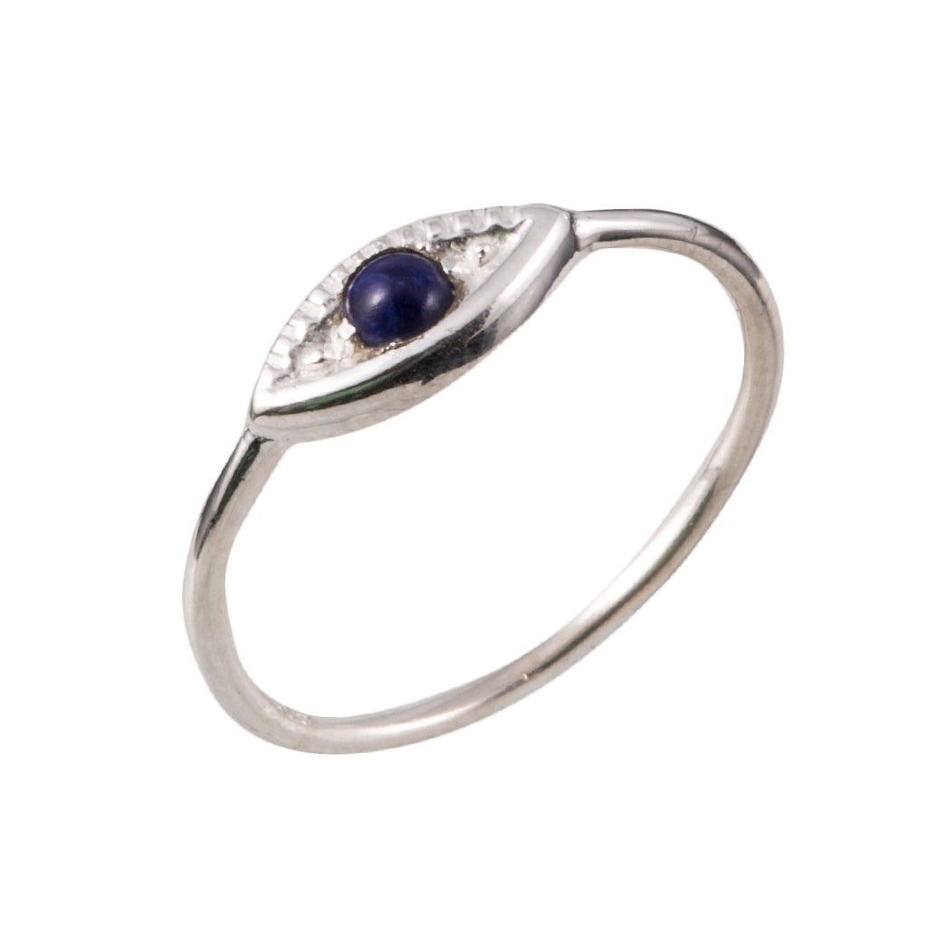 Silver lapis ring evil eye boho