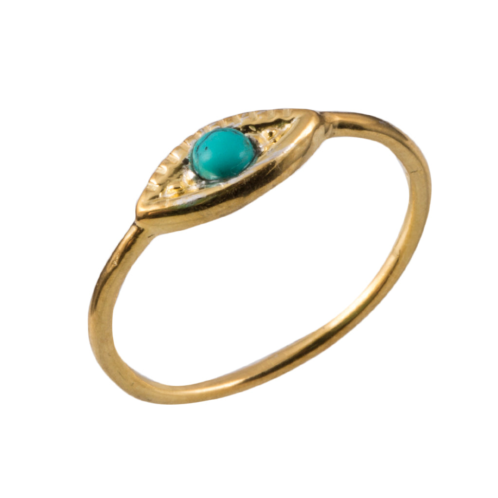 Vermeil turquoise small evil eye affordable ring