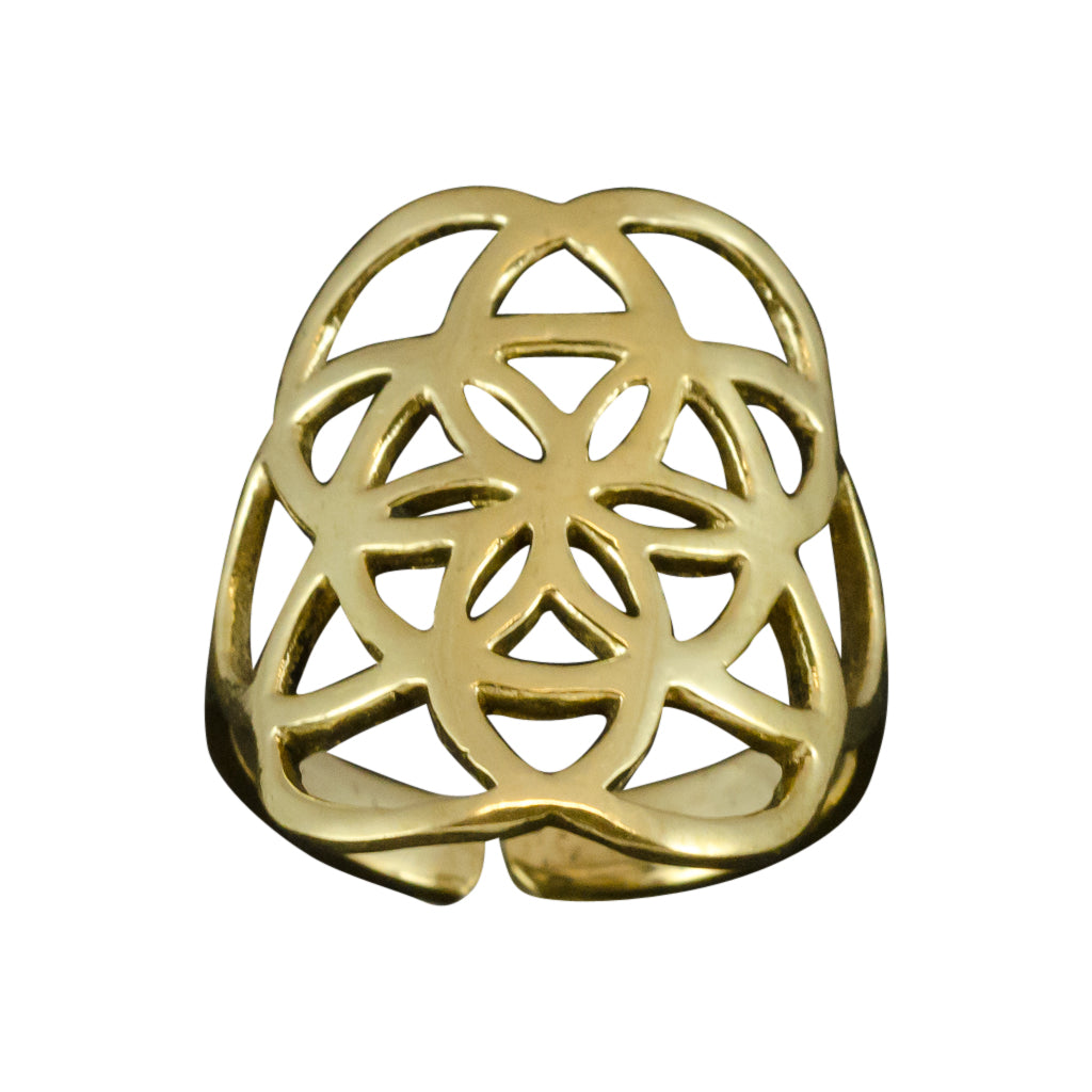 brass adjustable ring, yoga collection, flowers of life