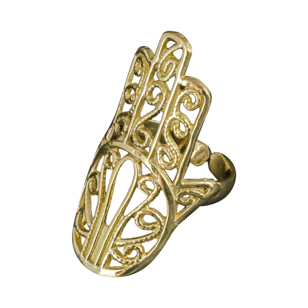 hamsa hand boho middle eastern spiritual brass gold adjustable cute intricate design ring